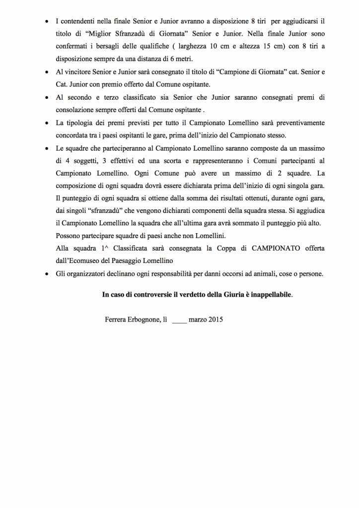 Regolamento Sfranzà 2015 2