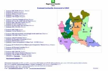 Mappa degli Ecomusei riconosciuti al 2010