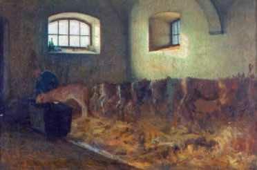 Interno di stalla (Angelo Morbelli – 1886)